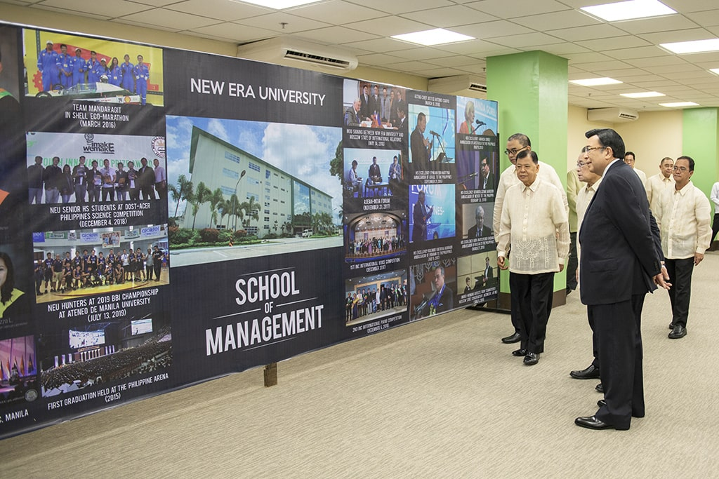 The New Era University-School of Management (SOM), the new home of three of the largest colleges of the University was inaugurated by Brother Eduardo Manalo on August 8, 2019.