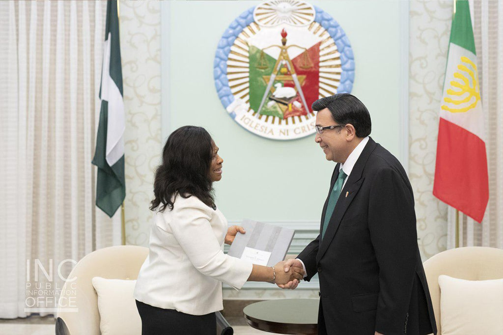 Her Excellency Ambassador Extraordinary and Plenipotentiary of the Federal Republic of Nigeria to the Republic of the Philippines Adekunbi Abibat Sonaike-Ayodeji visited for a courtesy call on INC Executive Minister Brother Eduardo V. Manalo on August 9, 2019.